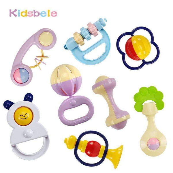 PinKart-USA Online Shopping Default Title Baby Toys 5Pcs Plastic Hand Jingle Shaking Bell+Kidsbele Infant Soft Books Born Baby Toys 0-12