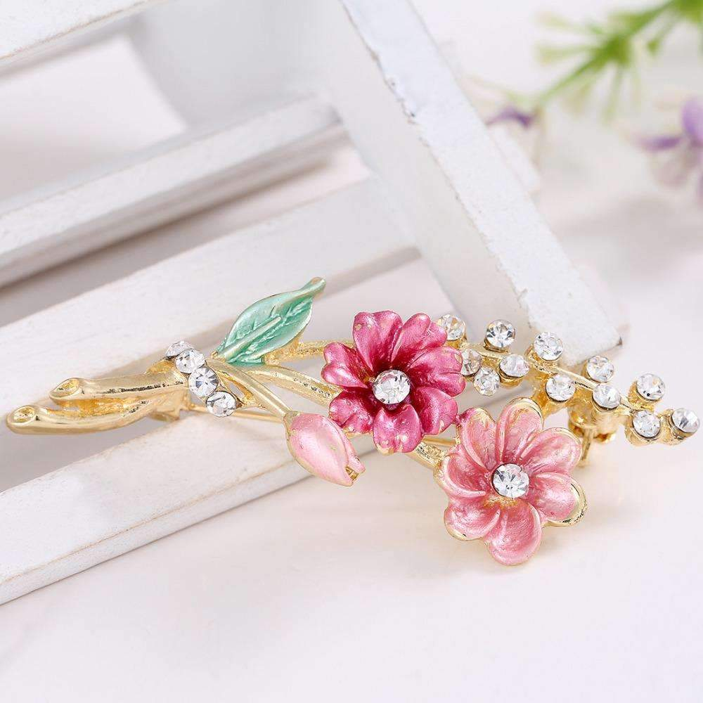 PinKart-USA Online Shopping Default Title Hot Arrived Style Crystal Leaves Flower Enamel Breastpin Pin Brooch Bouquet