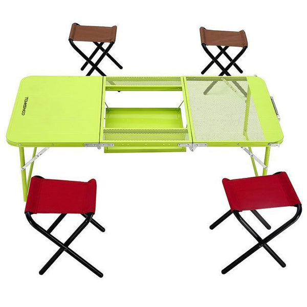 PINkart-USA Online Shopping Default Title Ikayaa Two Heights Desk Chair Set Combo Trible Treble Folding Table Desk With Four Chairs Picnic