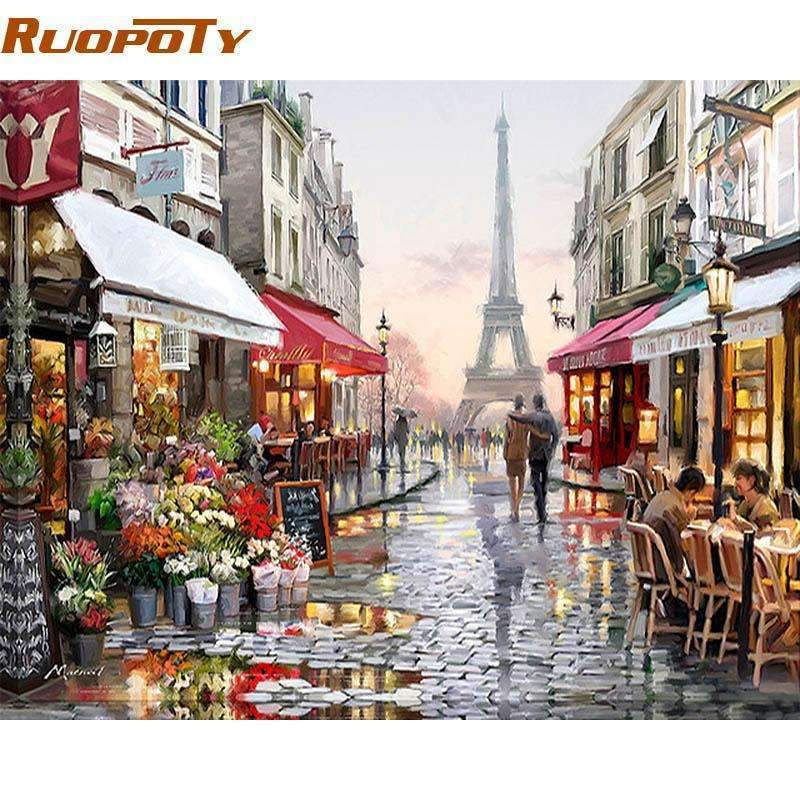 PinKart-USA Online Shopping Default Title Ruopoty Paris Street Diy Painting By Numbers Handpainted Canvas Painting Home Wall Art Picture For