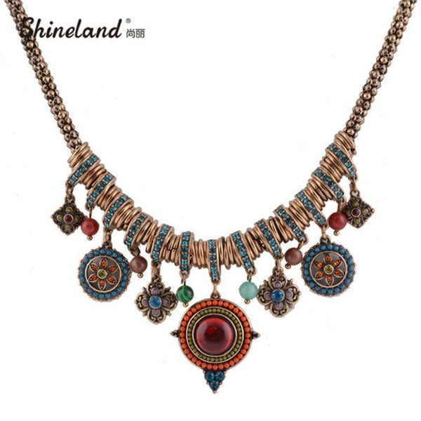PinKart-USA Online Shopping Default Title Vintage Bohemia Style Fashion Jewelry Gold-Color Round Shape Colorful Resin Stone&Beads Pendants