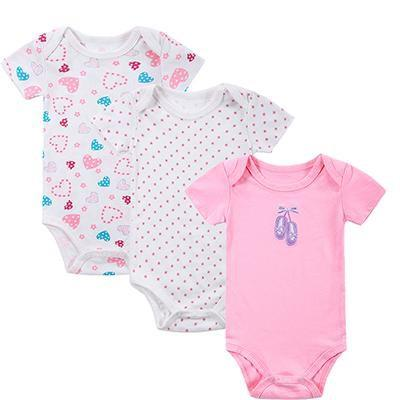 PINkart-USA Online Shopping DH16312 / 3M Mother Nest 3 Pieces/Lot Fantasia Baby Bodysuit Infant Jumpsuit Overall Short Sleeve Body Suit