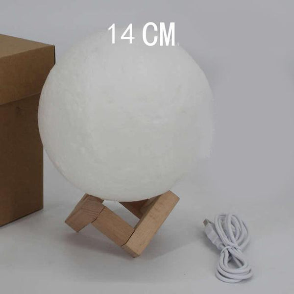 PINkart-USA Online Shopping dia 14cm 3D Printing Moon Creative Night Lights Touch Control Brightness Two Color Romantic Table Lamp