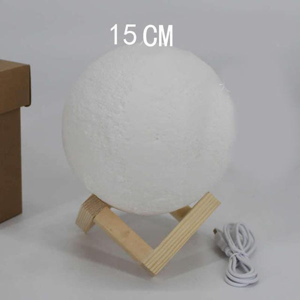 PINkart-USA Online Shopping dia 15cm 3D Printing Moon Creative Night Lights Touch Control Brightness Two Color Romantic Table Lamp