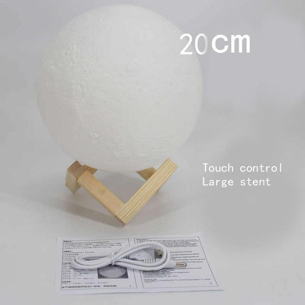 3D Printing Moon Creative Night Lights Touch Control Brightness Two Color Romantic Table Lamp