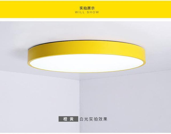PINkart-USA Online Shopping Dia50xH5cm / yellow / warm white Multicolour Modern Led Ceiling Lamp Round Super Thin 5Cm For Bedroom Kitchen Lamp Indoor Ac220V
