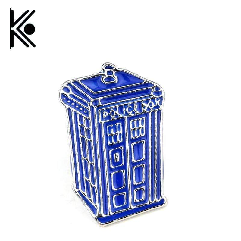 PinKart-USA Online Shopping Doctor Who Dr Mysterious Series Brooch Badges Fashion Blue Tardis Box Enamel Tie Lape