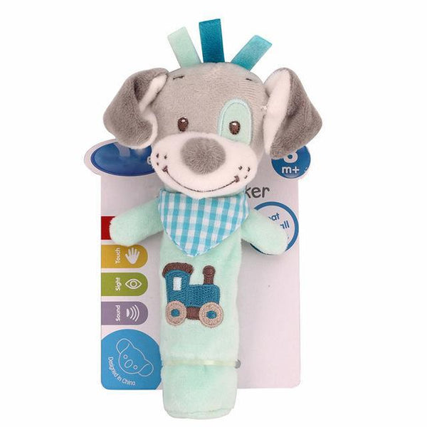 PINkart-USA Online Shopping dog 0-12 Months Born Bb Sticks Plush Baby Toys Soft Dog Cattle Doll Baby Rattle Colorful Infant