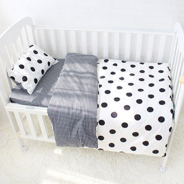 PINkart-USA Online Shopping Dot 3 Pcs Baby Bedding Set Pure Cotton Bed Linen For Children Crib Kit Include Duvet Cover Pillowcase