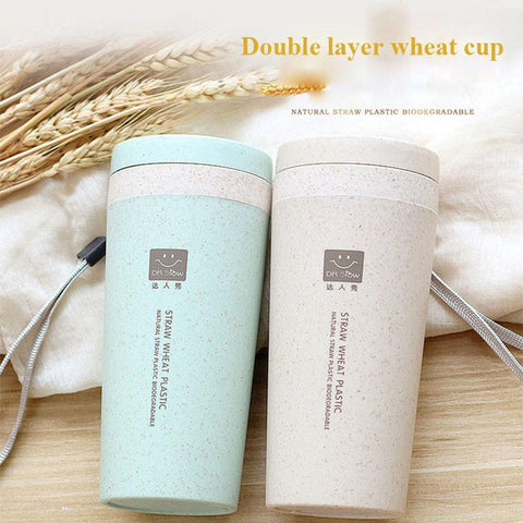 PINkart-USA Online Shopping Double Layer Wheat Straw Hand Cup Thermos Vacuum Mugs Coffee Cup Student Sport Thermos Bottle For