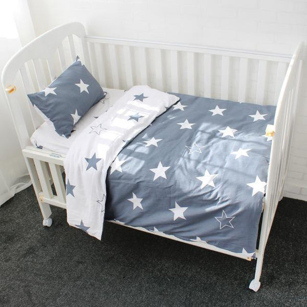 PINkart-USA Online Shopping Double Stars 3 Pcs Baby Bedding Set Pure Cotton Bed Linen For Children Crib Kit Include Duvet Cover Pillowcase