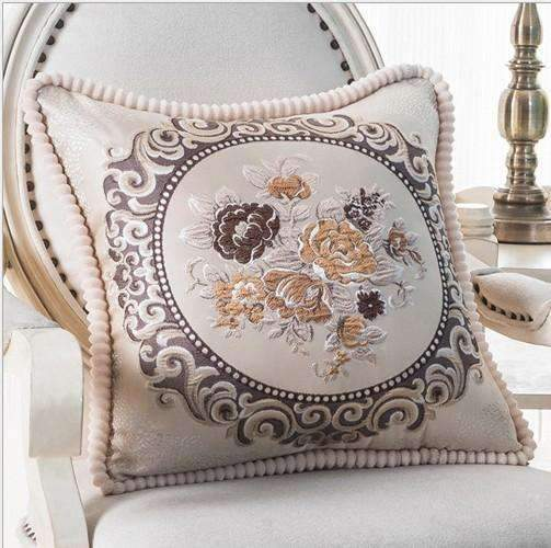 PinKart-USA Online Shopping E / 45x45m only cover Luxurious Embroidery Velour Home Decor Cushion Decoration Lace Pillow / European Velvet Sofa