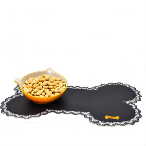 PINkart-USA Online Shopping Easy Wipe Cleaning Pet Dogs Cats Bowl Mat Pad Pet Supplies Cute Bone Shape Food Contaier Water
