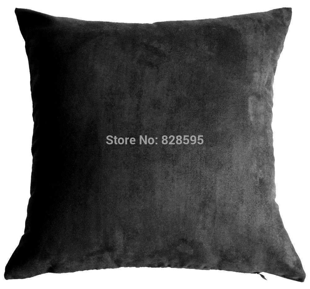PinKart-USA Online Shopping Eg16 - 16 X 16 / 40 X 40Cm Black Soft Faux Leather Micro Suede Cushion Cover Pillow Case (1Pcs)