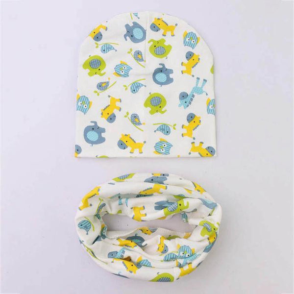 PINkart-USA Online Shopping elephant 1 Set Cotton Baby Hat Scarf Solid Color Children Caps Scarves Autumn Winter Kids Boys Girls O Ring