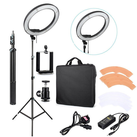 "PINkart-USA Online Shopping Es240 18"" 5500K Dimmable Led Adjustable Ring Light + Diffuser +Carry Bag + Light Stand"