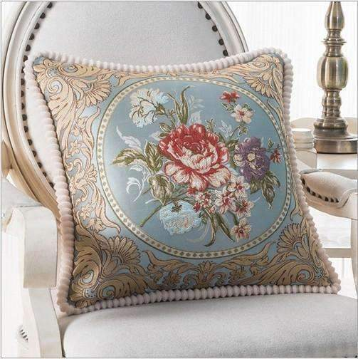 PinKart-USA Online Shopping F / 45x45m only cover Luxurious Embroidery Velour Home Decor Cushion Decoration Lace Pillow / European Velvet Sofa
