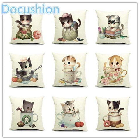 PinKart-USA Online Shopping Fashion Adorable Cartoon Style Cat Printed Pillow Bed Sofa Cushion Home Decorative Throw Pillow