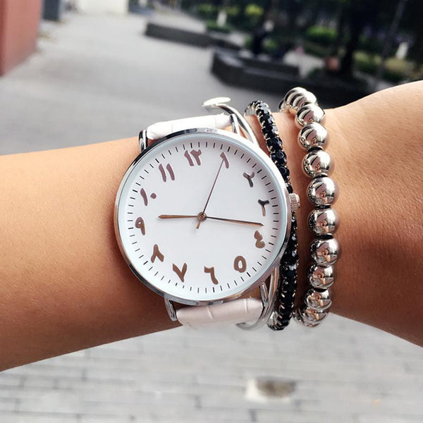 PINkart-USA Online Shopping Fashion Arabic Numbers Design Women Watches Bgg Top Luxury Brand Leather Female Watch Lover Clock