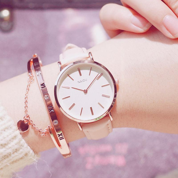 PINkart-USA Online Shopping Fashion Casual Wild Watches Women Simple Scale Ladies Wristwatches Classic Quartz Leather Female