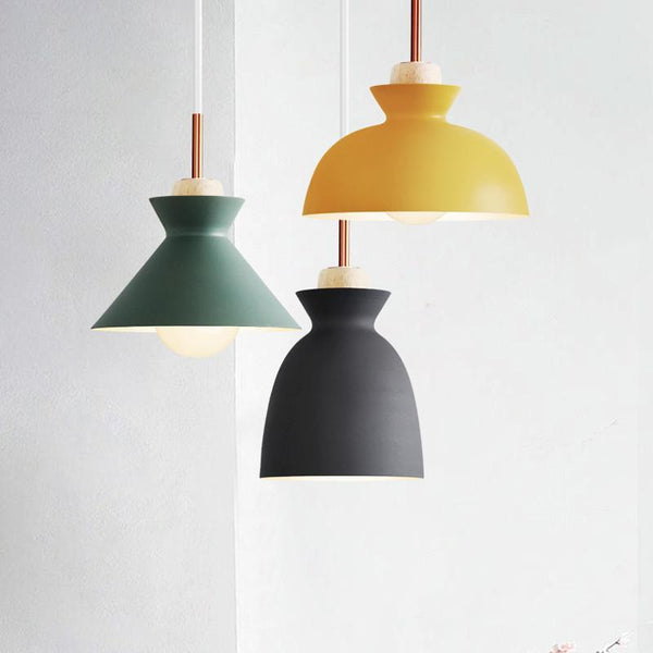 PINkart-USA Online Shopping Fashion Colorful Modern Wood Pendant Lights Lamparas Minimalist Design Shade Luminaire Dining Room
