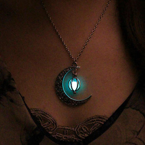 PINkart-USA Online Shopping Fashion Silver Charm Luminous Pendant Necklace Women Moon Glowing Stone Necklace Christmas