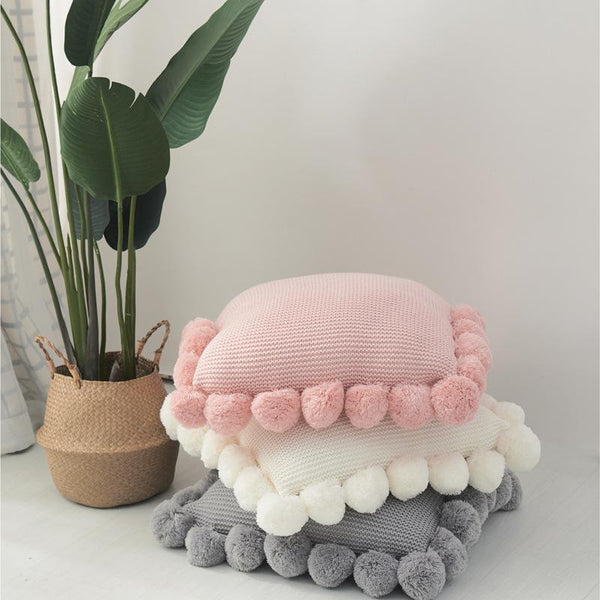 PINkart-USA Online Shopping Fashion White Polyester Knitting Cushion Cover With Ball Solid Color Handmade Cushions For Sofa