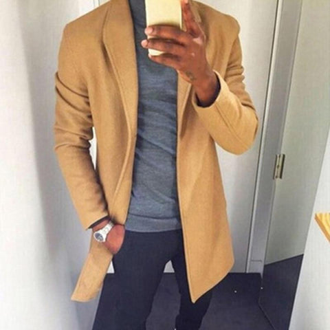 Fashion Winter Mens Trench Long Jackets Coats Overcoat Classic Jackets Solid Slim Fit Outwear