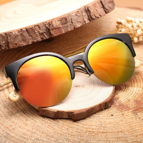 PINkart-USA Online Shopping Fashion Wooden Cat Eye Sunglasses For Men/Women,Round Lens Bamboo Legs