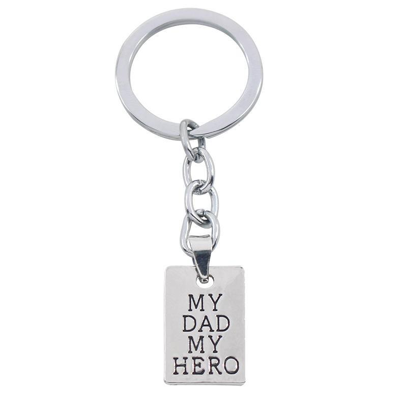 PINkart-USA Online Shopping Father'S Day Gift My Dad My Hero Keychain Men Jewelry Fashion Keyring Key Chain Holder Family Dad
