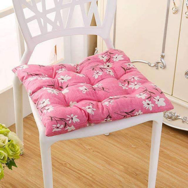 PinKart-USA Online Shopping fen se xiao hua / 40x40cm 40*40Cm Cheap Soft Home Office Linen Outdoor Square Cotton Seat Pad Thicken Cushion Buttocks Chair