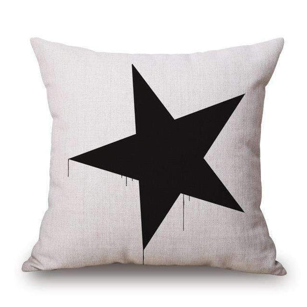 PinKart-USA Online Shopping Five Pointed Star / 45x45cm Romantic Modern Simple Beige Love Star Pattern Pillow Case Deer And Panda Chair Square Throw