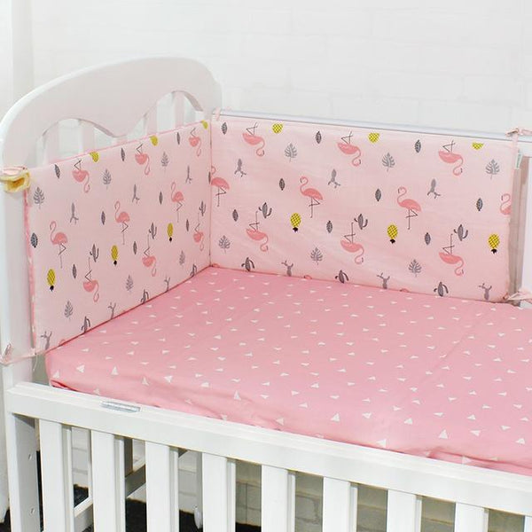 PINkart-USA Online Shopping Flamingos 1 Pcs Baby Bed Bumper Soft Breathable Cartoon Pattern Baby Crib Protector For Children Croth To The Cot