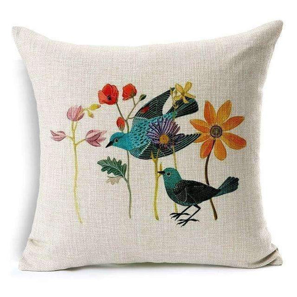 PinKart-USA Online Shopping Flower and Bird 1 Pillow Case Beautiful Flower And Bird Cotton Linen Pillowcase For Bedroom Chair Seat Throw