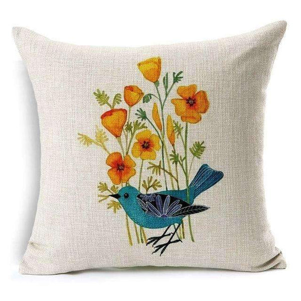 PinKart-USA Online Shopping Flower and Bird Pillow Case Beautiful Flower And Bird Cotton Linen Pillowcase For Bedroom Chair Seat Throw