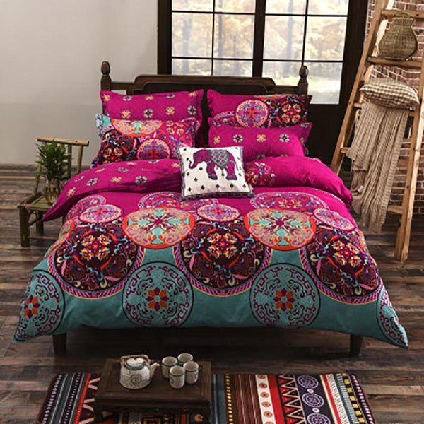 PINkart-USA Online Shopping Folk-Custom Bedding Set Polyester Soft Bedclothes Print Product Set Full / Queen / King Size With