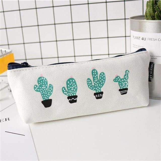 PinKart-USA Online Shopping four Cactus Pencil Case Canvas School Supplies Kawaii Stationery Estuches Chancery School Cute Kalem