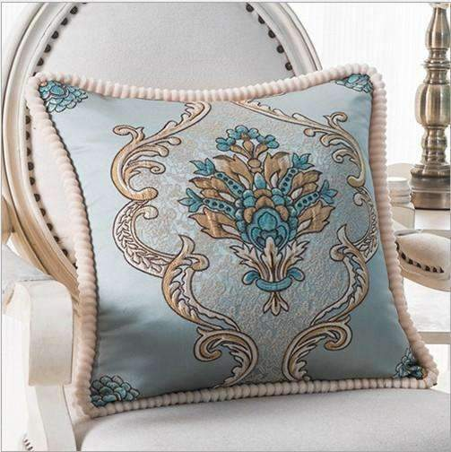 PinKart-USA Online Shopping G / 45x45m only cover Luxurious Embroidery Velour Home Decor Cushion Decoration Lace Pillow / European Velvet Sofa