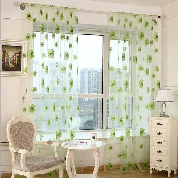 PINkart-USA Online Shopping G / W100cm L200cm 5 Colors Green Polyester Curtains Tulle For Living Room Kitchen Sunflowers Printed Translucidus