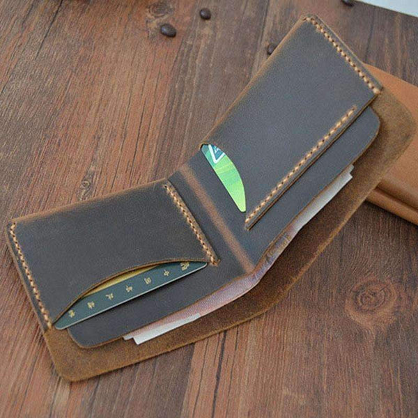 PinKart-USA Online Shopping Genuine Leather Male Wallet Designer Vintage Short Purse High Quality Crazy Horse Handmade Small