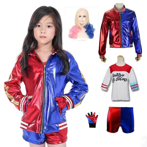 Girls Joker Suicide Squad Embroidery Jacket Cosplay Children'S Harley Quinn Fashion Red Blue