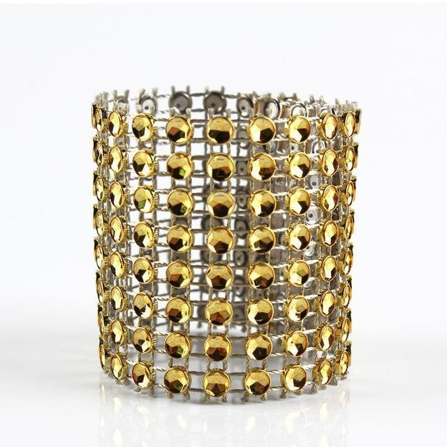 PinKart-USA Online Shopping Gold 100Pcs Gold/Silver Rhinestone Napkin Rings For Wedding Decoration Plastic Chair Sash Bows Napkin