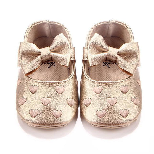 PINkart-USA Online Shopping Gold / 7-12 Months Soft Bottom Pu Leather Baby Shoes Big Bow Embroidery Love Kids Shoes Non-Slip Toddler Soft Soled