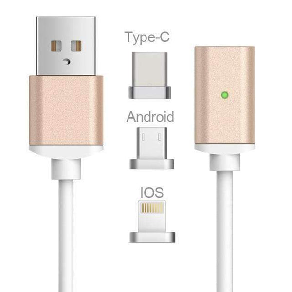 PinKart-USA Online Shopping gold3in1 / 1m Usb Type C/Ios/Android 3In1 Magnetic Cable Type-C Usb-C Fast Charge Adapter Magnet Cable For