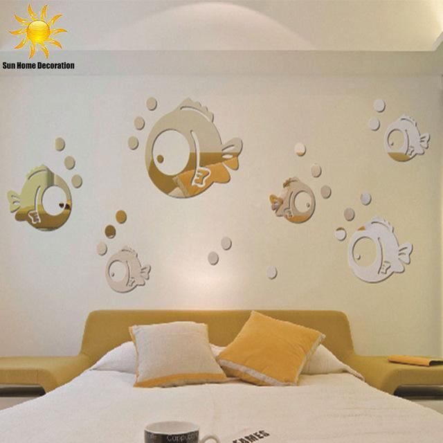 PINkart-USA Online Shopping Golden Bubble Fish Bathroom Mirrored Decorative Sticker Wall Art Mirror Decorative Wall Sticker