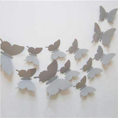 PinKart-USA Online Shopping Gray 12 Pcs/Lot Pvc Butterfly Decals 3D Wall Stickers Home Decor Poster For Kids Rooms Adhesive To Wall