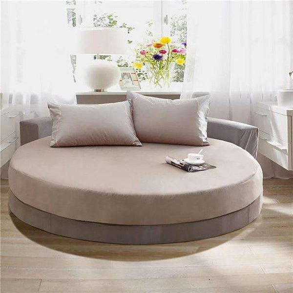 PinKart-USA Online Shopping gray / 200cm 100% Pure Cotton Solid Color Bed Sheet Round Fitted Sheet Europe Style Soft Sheet Multicolor Bed