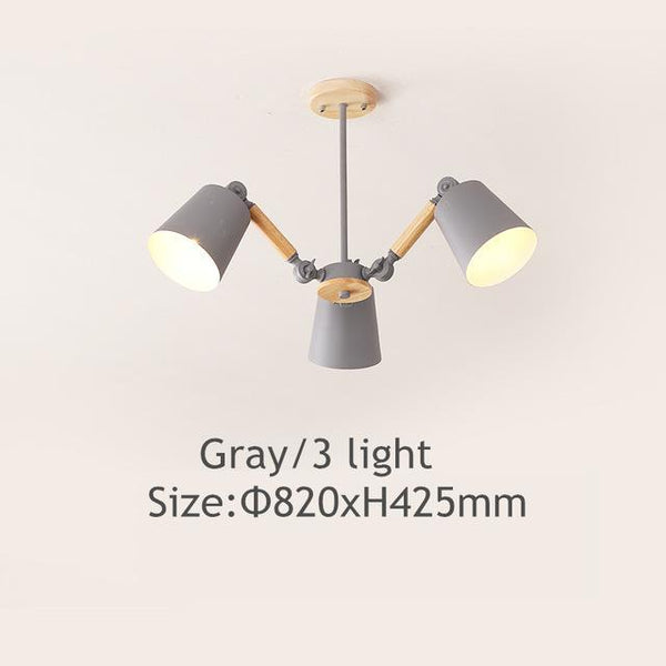 PINkart-USA Online Shopping Gray 3 light Lustre Led Chandelier For Living Room Hanging Lights Lustres Para Sala De Jantar Lampshade Wood