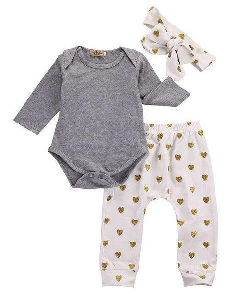 PinKart-USA Online Shopping Gray / 3M 3Pcs Born Infant Baby Girls Clothes Long Sleeve Gray Bodysuit Tops+Heart Pants Leggings