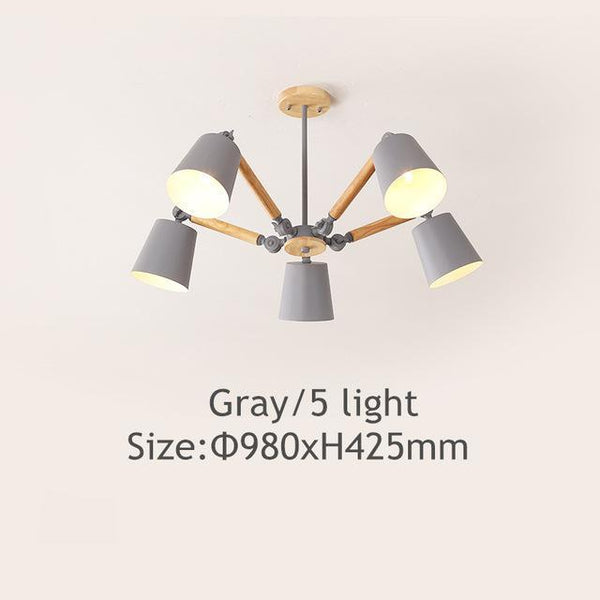 PINkart-USA Online Shopping Gray 5 light Lustre Led Chandelier For Living Room Hanging Lights Lustres Para Sala De Jantar Lampshade Wood